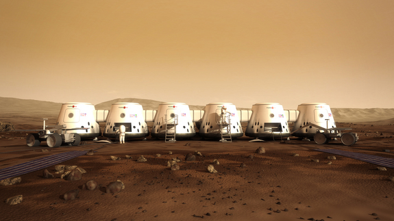 Artist's concept of Mars One astronauts on the Red Planet.