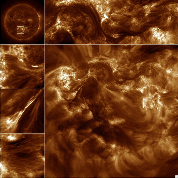 NASA's High-resolution Coronal Imager (Hi-C) capture over 50 16-Megapixel images of the 1.5 million-degree solar corona. The large image is the full frame image and the smaller images along the top and sides are sub fields of the image. The upper left corner image is from the Atmospheric Imaging Assembly on the Solar Dynamics Observatory and the box in this image shows the Hi-C field of view. Released Jan. 23, 2013.