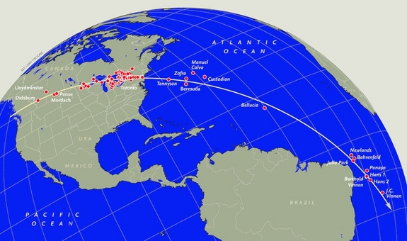 The red dots mark locations where the meteor procession of February 9, 1913, was observed. The accounts from the ships at latitudes south of the S.S. Newlands were discovered during the preparation of this article. The ground track, projected onto the rotating Earth, deviates somewhat from a great circle, with the southern part of the track shifted several degrees to the west because of the rotation of the Earth during the time of flight from Canada to the shipping lanes below the equator. To travel so far around the curvature of the Earth, the members of the 1913 meteor procession apparently followed tracks similar to the gradual reentry of satellites in low Earth orbit.