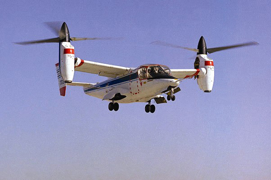 Space History Photo: Tiltrotor Research Aircraft Hovering