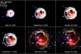 "This image shows the amazing V838 Monocerotis outburst of 2002 in stages. Scientists think it was caused by a ""common-envelope event."" Image released Jan. 24, 2013."