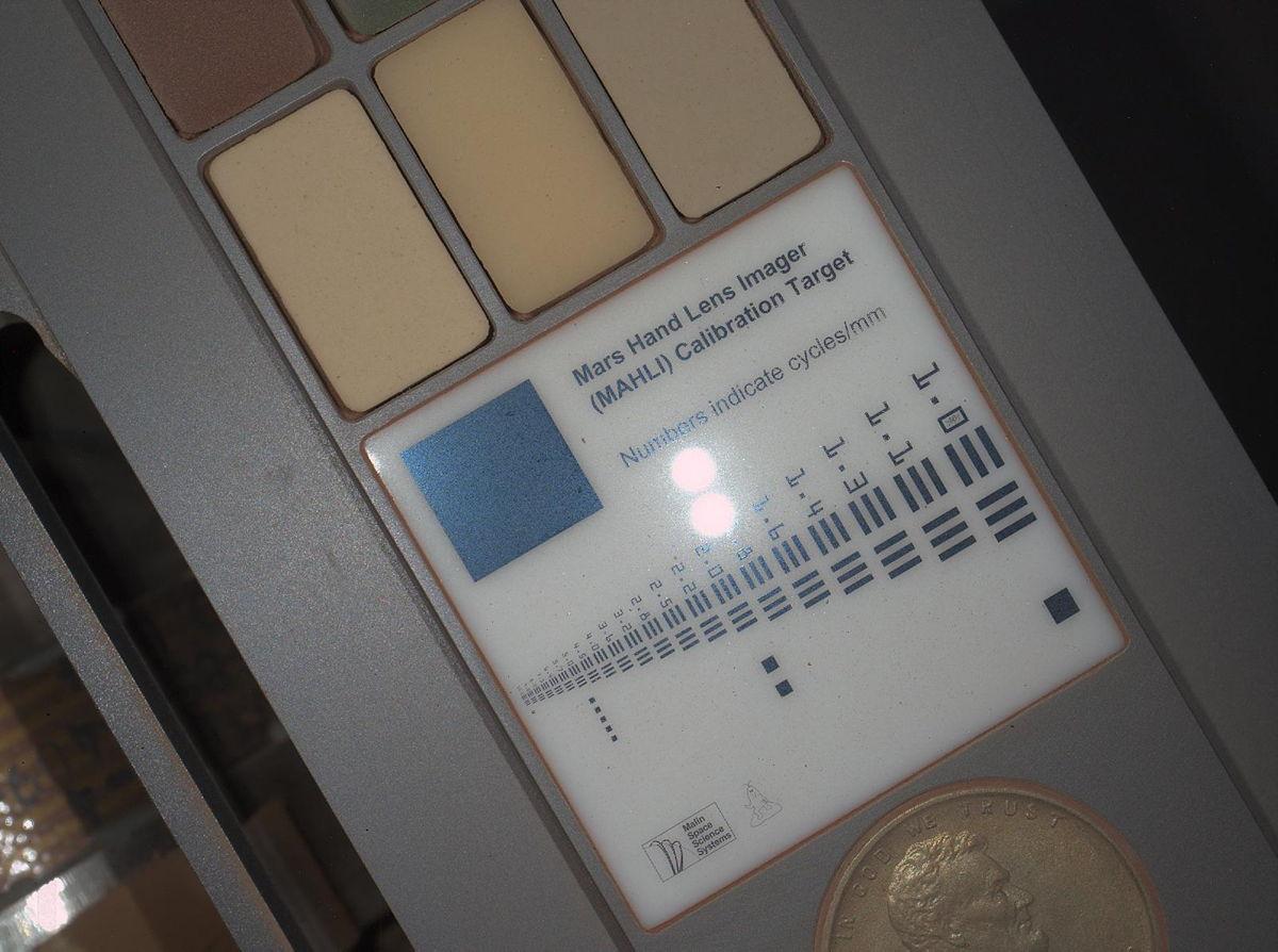 First Night Image of MAHLI Calibration Target in White Lighting