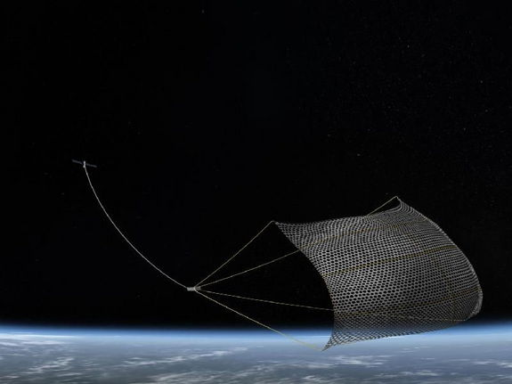 Various concepts have been proposed to rid space of orbital clutter, like this fishing net to bag debris.