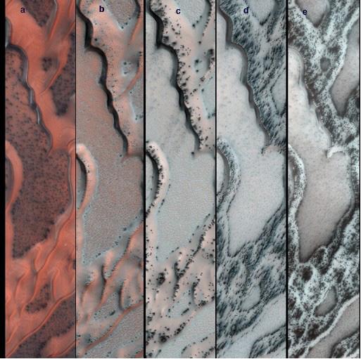 On Mars, Dry Ice 'Smoke' Carves Up Sand Dunes
