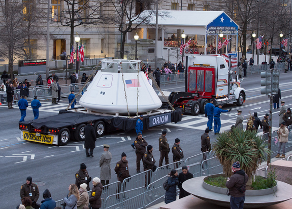 The Orion space capsule is seen as it rolls down Pennsylvania Avenue during the inaugural parade honoring President Barack Obaama, Monday Jan. 21, 2013, in Washington.