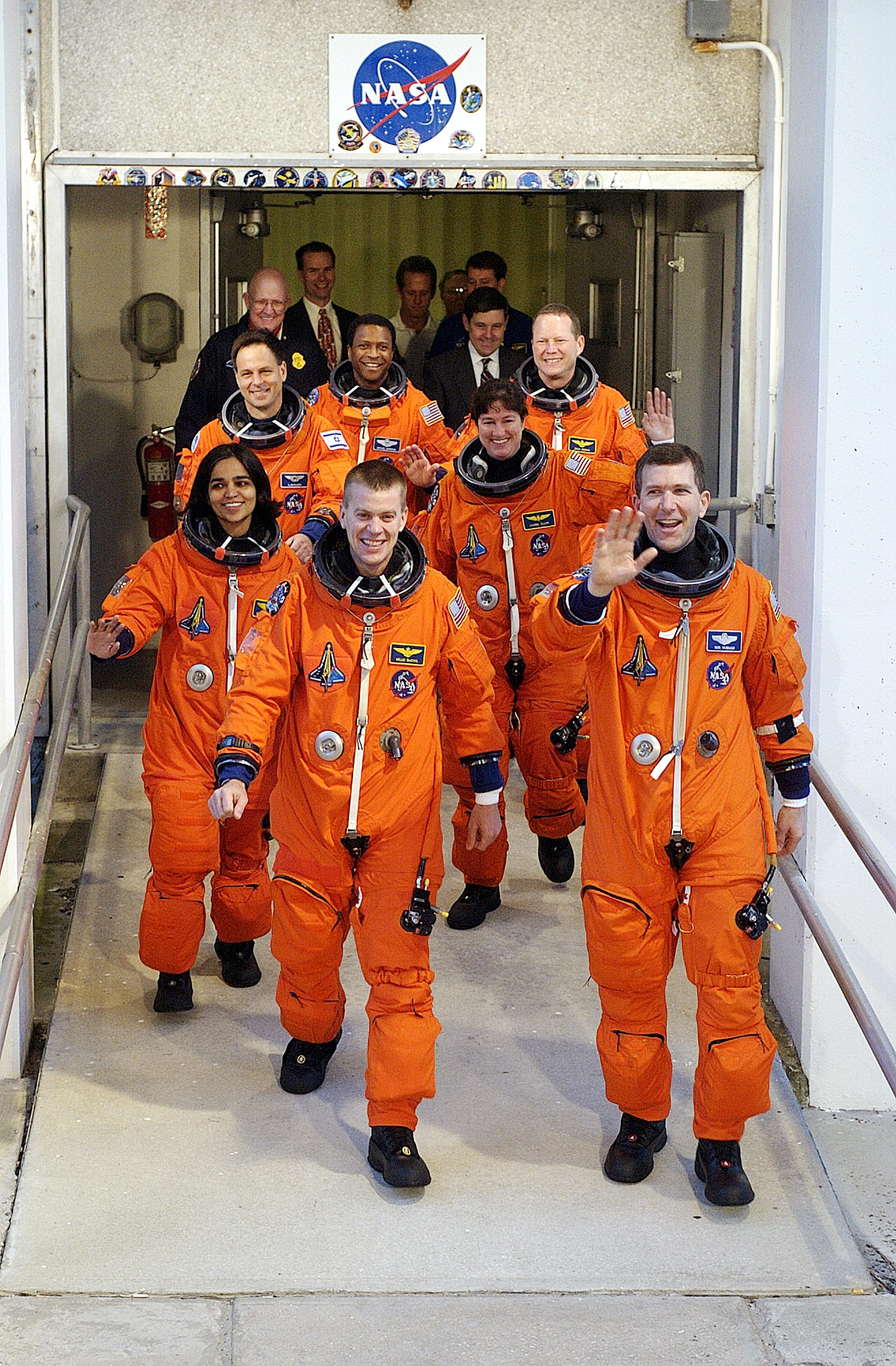 Shuttle Columbia's STS-107 Crew: Walkout