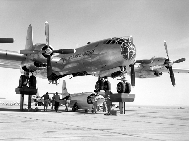 Space History Photo: X-1-3 Being Mated To EB-50A Superfortress