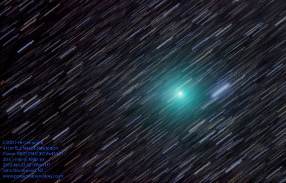 Astrophotographer John Drummond sent in his photo of Comet Lemmon taken on Jan. 23, 2013, in New Zealand.