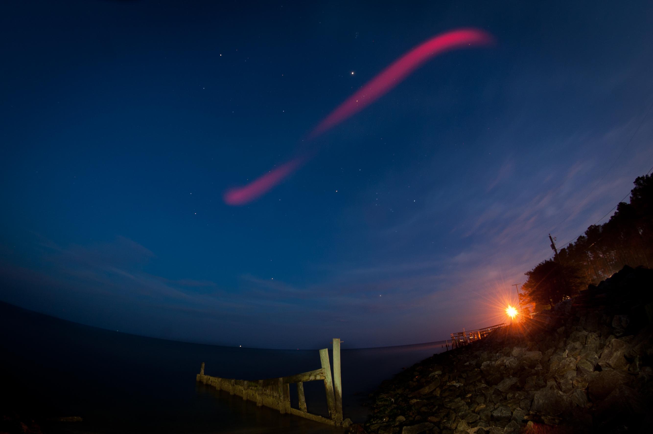 NASA Rocket Launch Paints Night Sky Red (Photos)