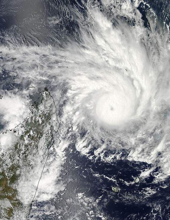 On Jan. 29, 2013, NASA's Aqua satellite captured an image of Cyclone Felleng at 5:14 a.m. EST that showed strong thunderstorms around the center of circulation and a 22 nautical mile-wide eye obscured by high clouds. The western edge of the storm wass approaching Madagascar (left).