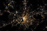 Expedition 34 Flight Engineer Chris Hadfield took this image of Washington D.C. on Saturday night of the Inaugural Weekend on Jan. 20, 2013. The inaugural parade route can even be seen in the image.