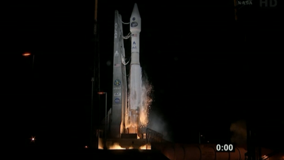 NASA's TDRS-K communications satellite launches on the night of Jan. 30, 2013 in this screenshot from NASA TV.