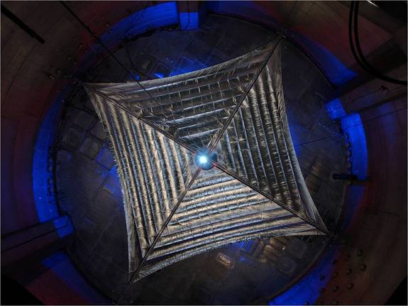 An early prototype of L'Garde solar sail is evaluated in a vacuum chamber at the NASA Glenn Research Center's Plum Brook Facility in Sandusky, Ohio. This test article is a quarter the size of the sail the company plans to fly in 2016.
