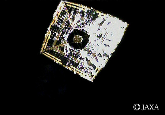 The Japan Aerospace Exploration Agency's Ikaros solar sail is seen in deep space after its deployment on June 14, 2010, in this view taken from a small camera ejected by the sail.