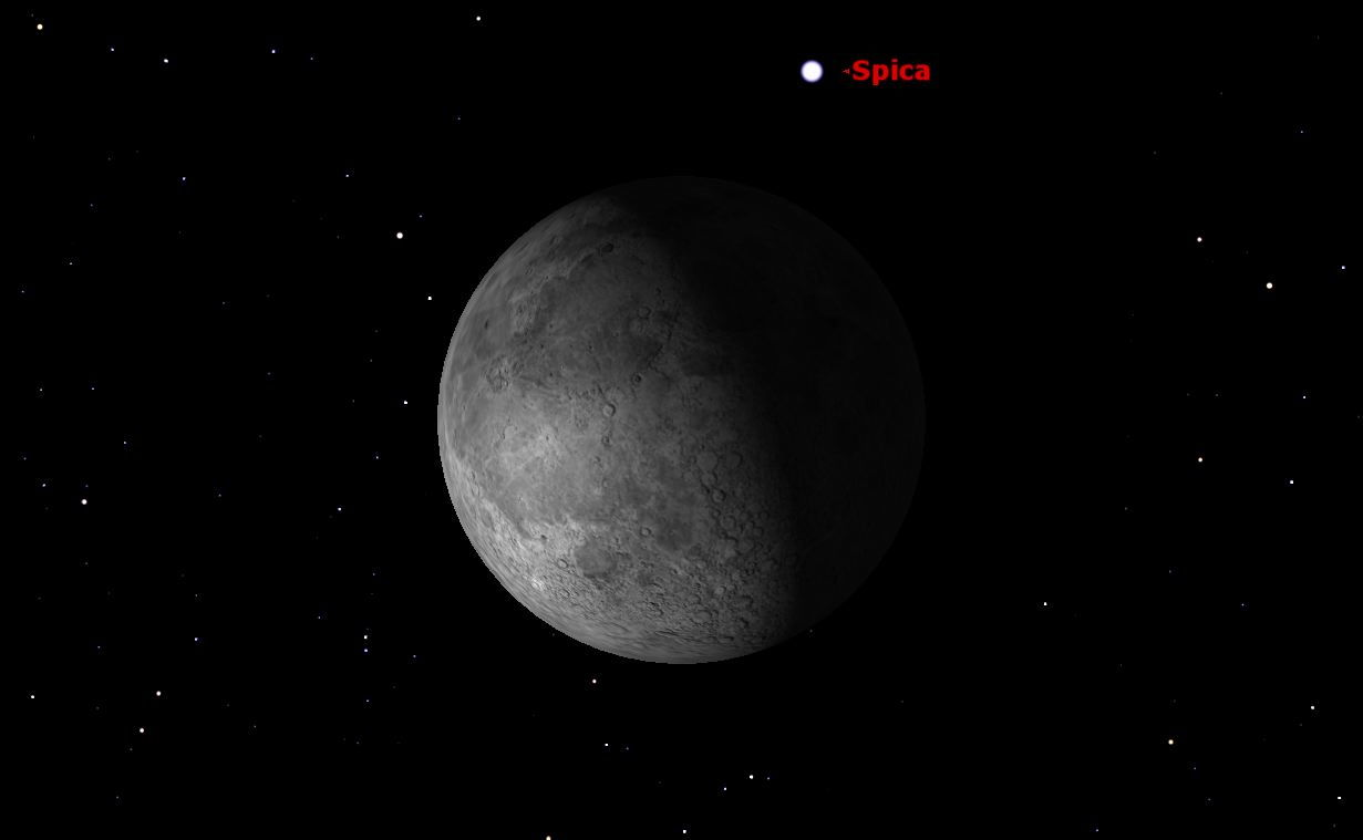 Spica North of the Moon, February 2013