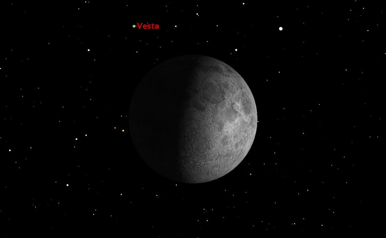 Vesta and the Moon, February 2013