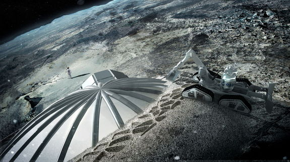 In this artist's rendering, a 3D printing robot pours layer after layer of hardened lunar dirt and dust onto an inflatable dome shell, 3D printing a lunar base.