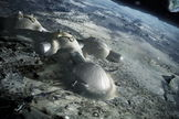 The possible lunar base designed by Foster + Partners would have room enough for four moon residents at a time.