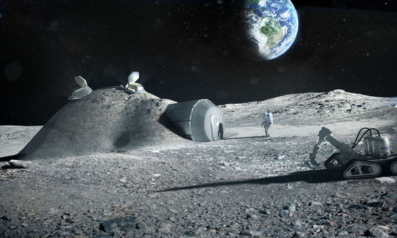 Artist's concept of a lunar base constructed with the aid of 3D printers.