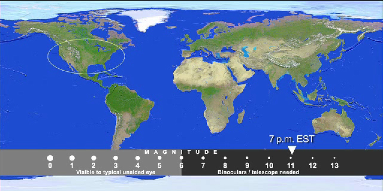 Asteroid 2012 DA14 Viewing Maps: U.S.