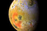 If a distant moon were larger than Jupiter's tidally heated volcanic moon Io (seen here), it could be large enough to image from Earth, scientists say.