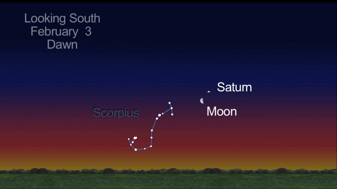 Moon & Saturn Team Up at Dawn on Super Bowl Sunday