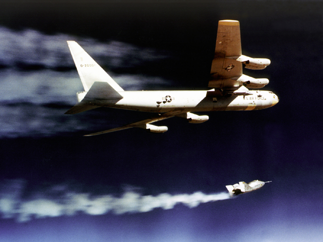 Space History Photo: X-24A Powered Flight Drop from B-52