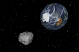 This NASA diagram depicts the passage of asteroid 2012 DA14 through the Earth-moon system on Feb. 15, 2013.