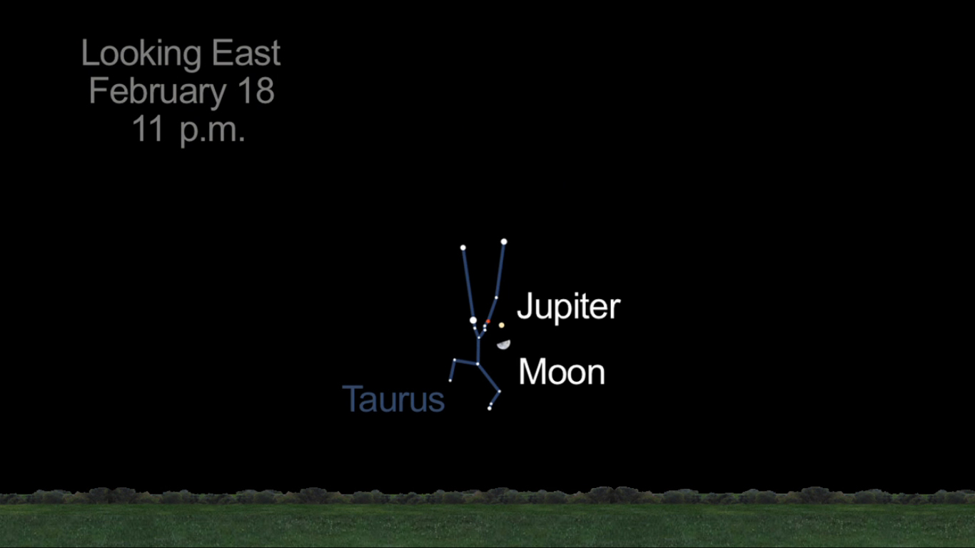Jupiter and Moon Together: Feb. 18, 2013
