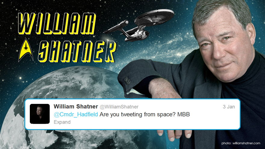 Shatner to Hadfield on Twitter