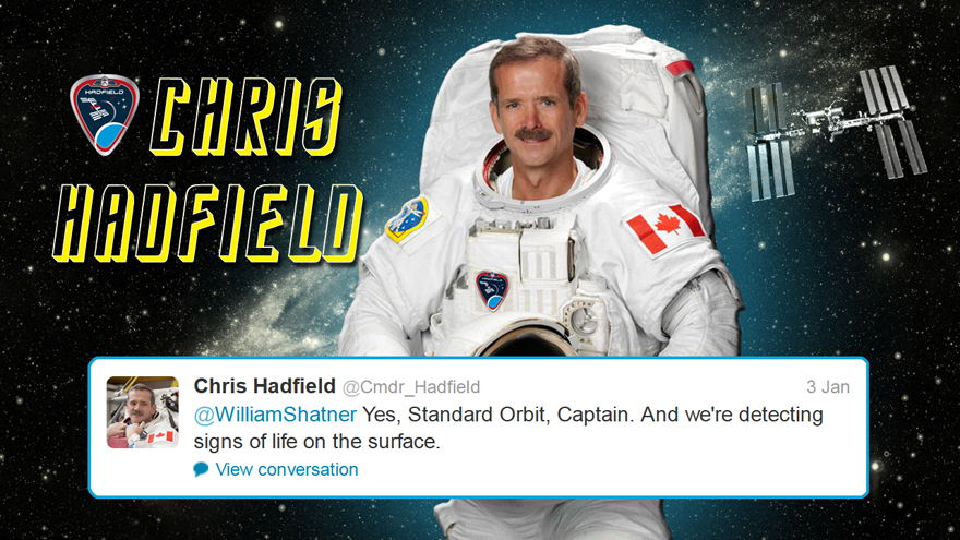 Hadfield Replies to Shatner on Twitter