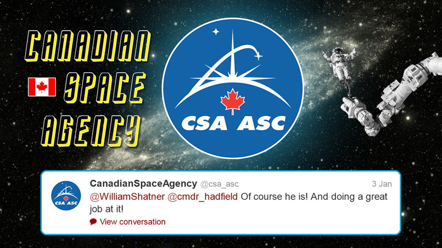Canadian Space Agency Tweet Response to Shatner and Hadfield