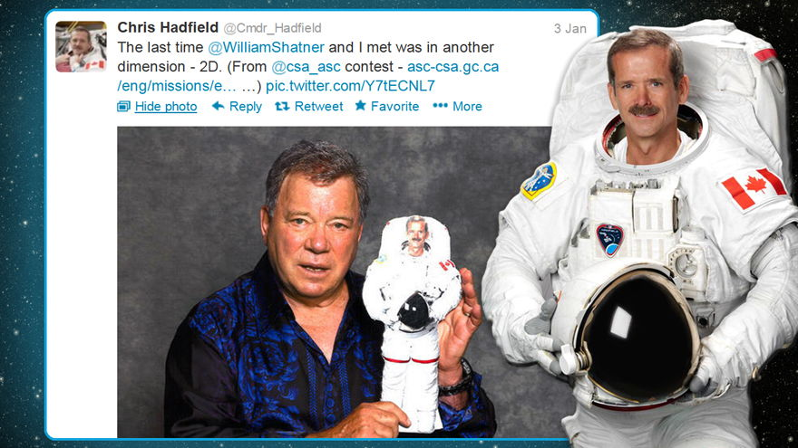 Shatner Tweets About the 2D Chris Hadfield