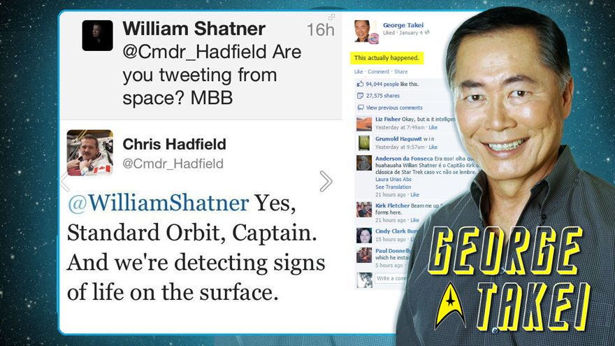 George Takei's Facebook Post About the Shatner-Hadfield Tweets