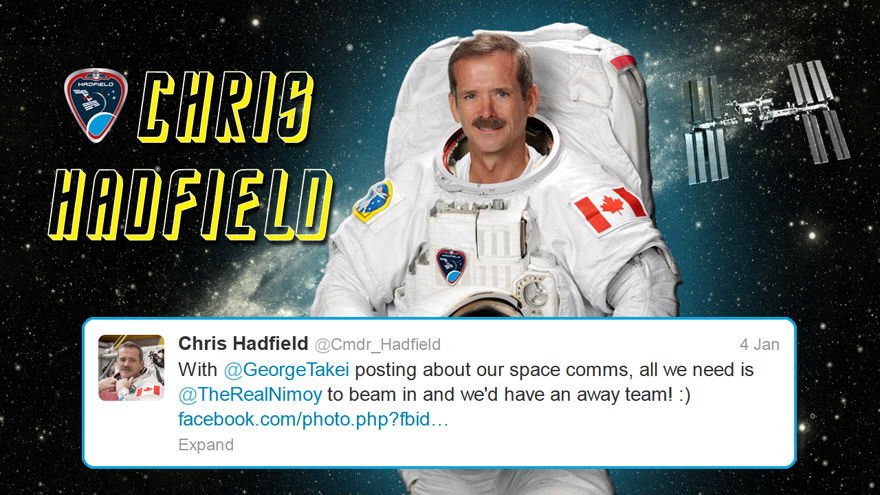 Hadfield Tweets About Takei's Facebook Post