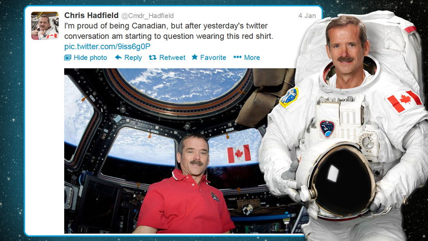 Hadfield Tweets About His Red Shirt