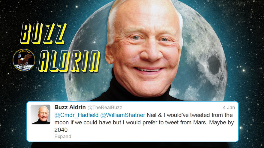 Iconic Astronaut Buzz Aldrin Tweets to Hadfield and Shatner