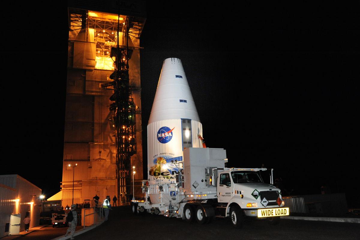 Landsat Data Continuity Mission LDCM Spacecraft Rolls Out