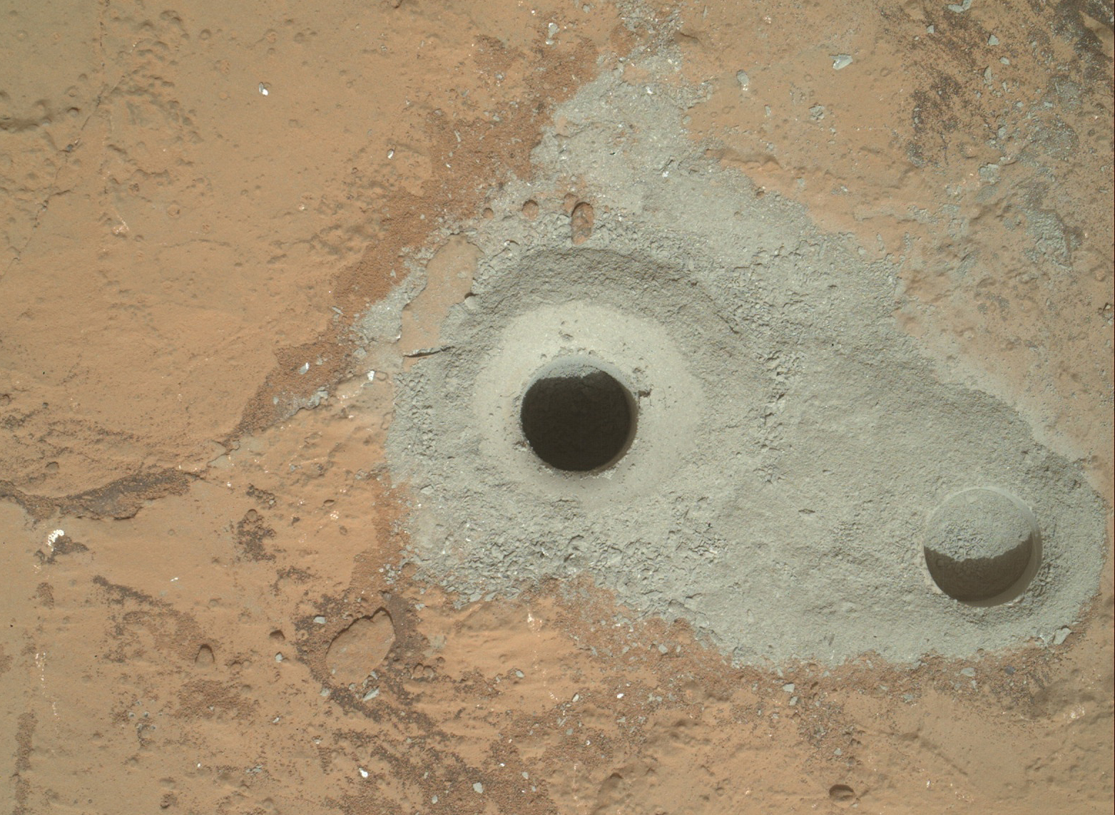 Mars Rover Curiosity's 1st Drill Sample Hole