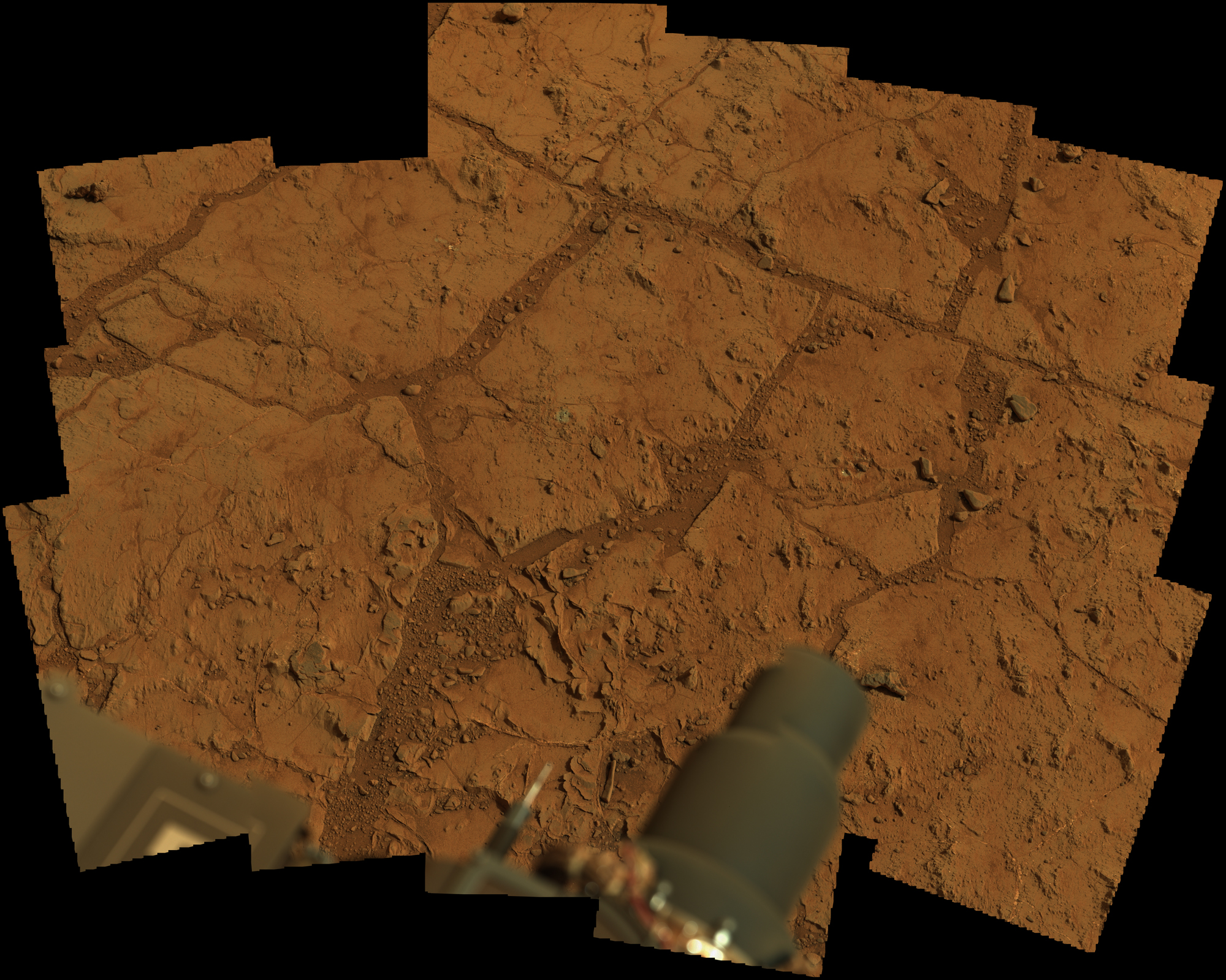 Curiosity Rovers 1st Mars Sample Drill Site (Raw Color)