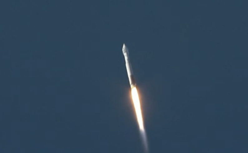 An Atlas 5 rocket launches spaceward carrying NASA's Landsat Data Continuity Mission satellite on the Landsat 8 mission. Liftoff occurred at 1:02 p.m. EST/10:02 a.m. PST from Vandenberg Air Force Base in California.