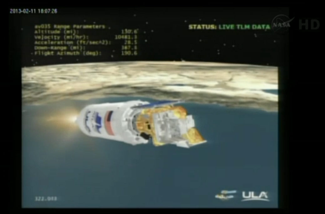 Atlas 5 Rocket With Landsat Payload Tracking Display