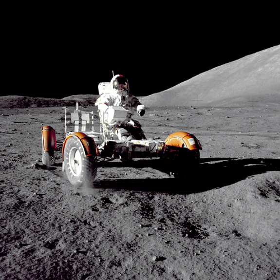 The Apollo 17 mission commander checks out the rover prior to loadup.