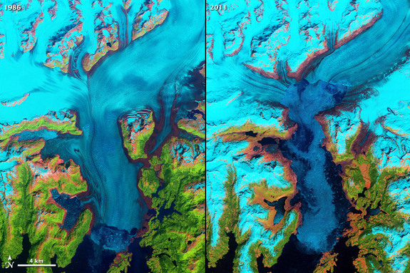 This Landsat 5 image shows the Columbia Glacier in Alaska, one of many vanishing around the world. Glacier retreat is one of the most direct and understandable effects of climate change.