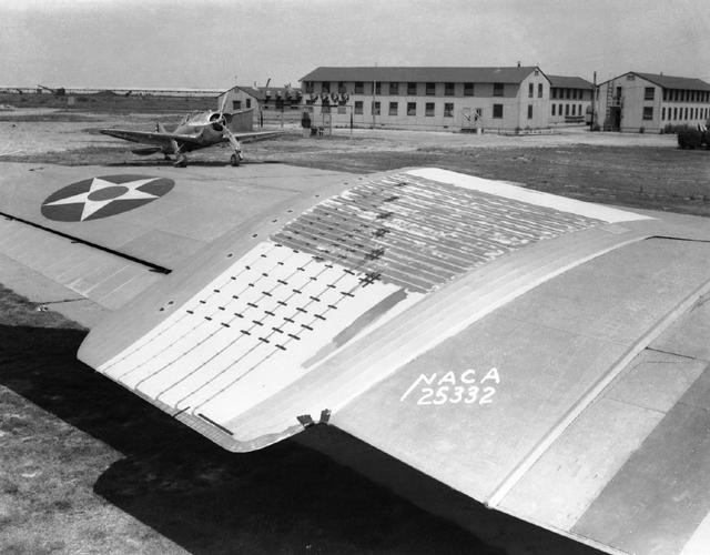 Space History Photo: Experimental Low-Drag Test Panel on Douglas B-18