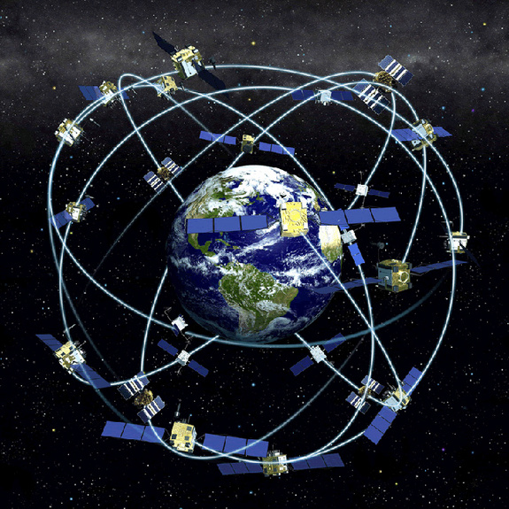 The orbits of GPS satellites are inclined to the Earth's equator by about 55 degrees.  The system is designed to ensure that at least four satellites are visible at least 15 degrees above the horizon at any given time anywhere in the world.