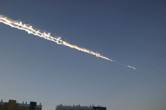 What appears to be a meteor trail over eastern Russia is seen in this image released Feb. 15, 2013, by the Russian Emergency Ministry. The meteor fall included a massive blast, according to Russian reports.