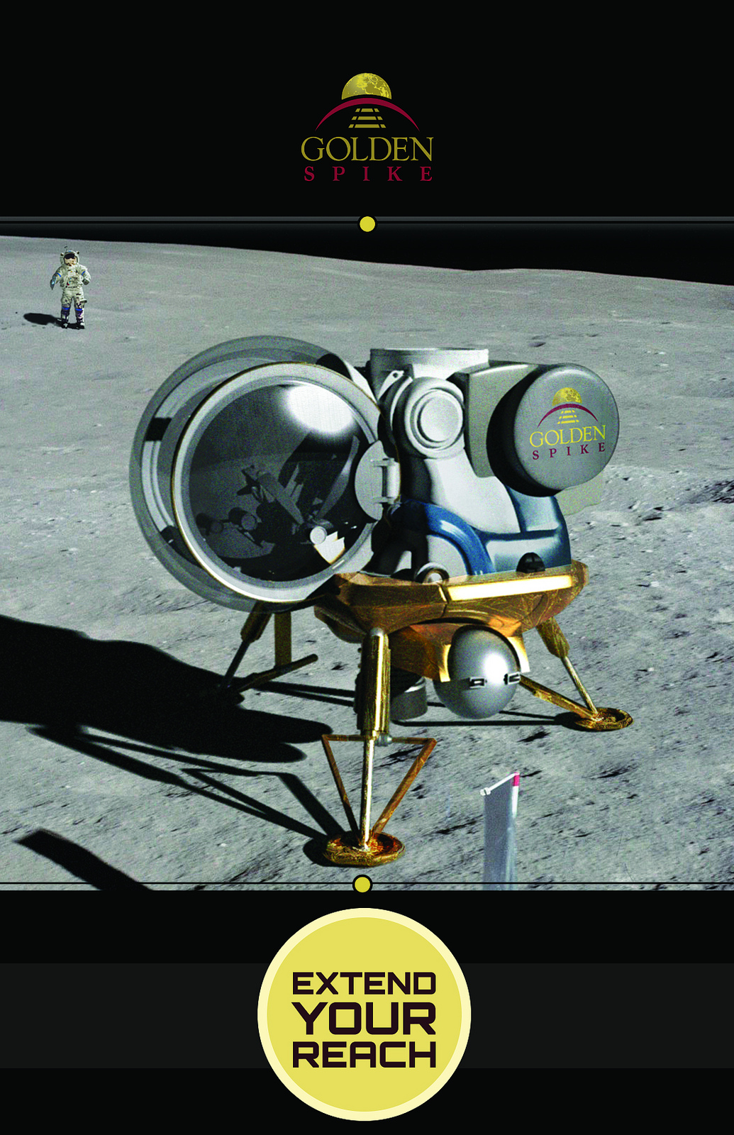 Golden Spike on the Moon: Private Lunar Trips (Photos)