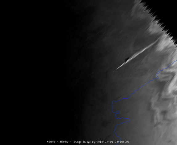The meteor which exploded over the Urals of central Russia was seen by Meteosat-9, at the edge of the satellite view. Hundreds of people were reportedly injured as the meteor's massive sonic boom caused widespread damage. Image taken Feb. 15, 2013, 3:15 UTC.