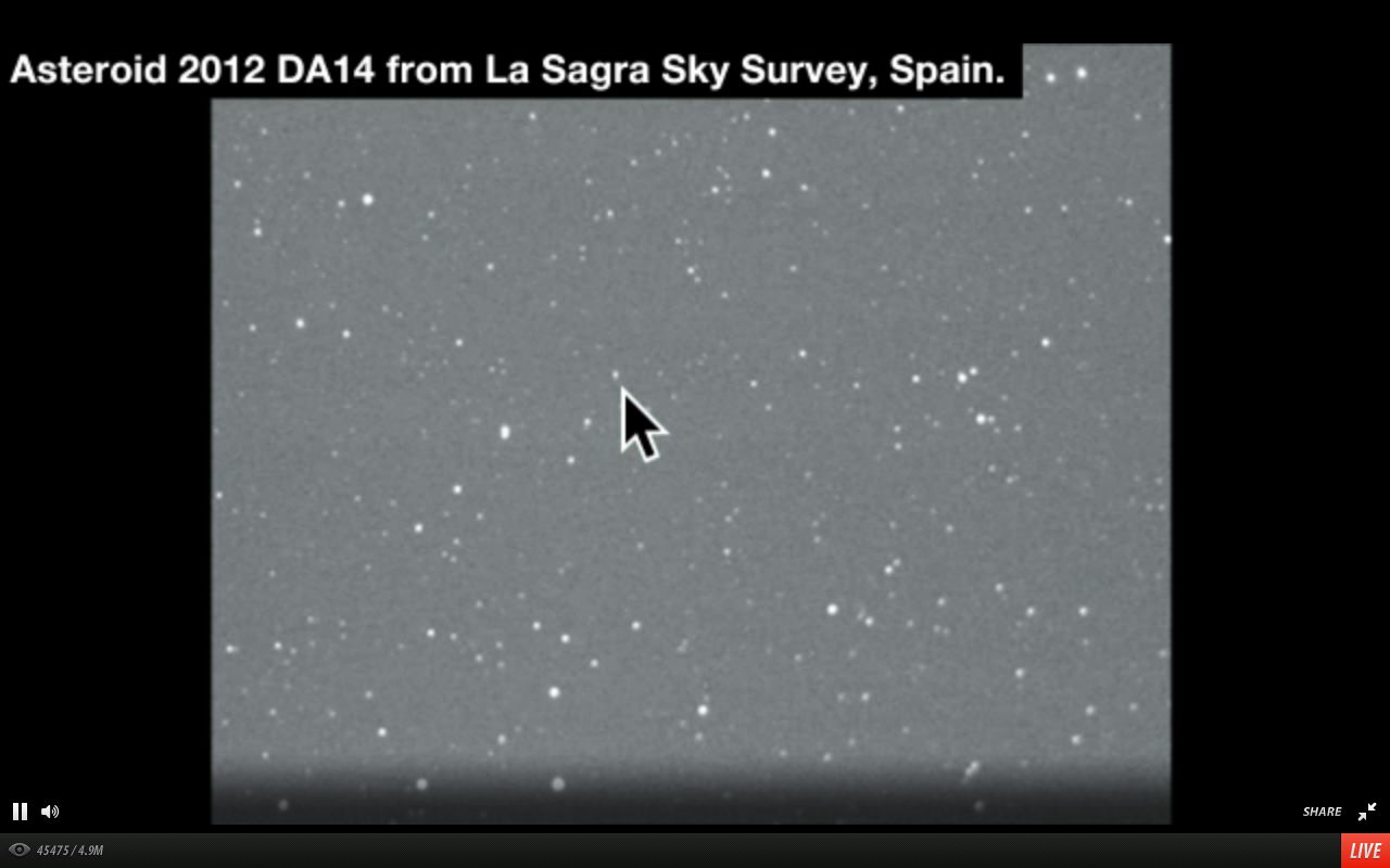 Asteroid 2012 DA14 Seen by La Sagra Sky Survey, Spain